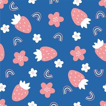 Nahtloses muster mit erdbeerblumen und tainbos muster für stoffverpackungstextilien