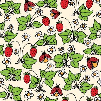 Nahtloses muster mit erdbeere, blumen und marienkäfern