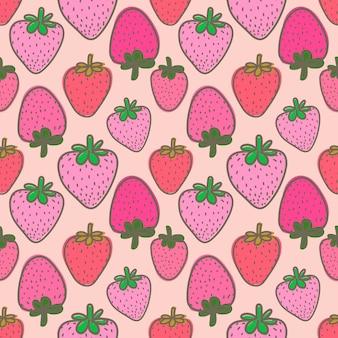 Nahtloses muster mit erdbeere für geschenkverpackungsdesign.