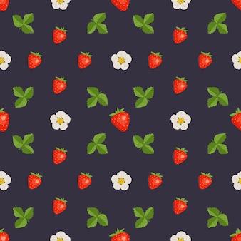 Nahtloses muster mit erdbeeren, blumen und blättern. süßer sommer- oder frühlingsbeerendruck auf dunklem hintergrund. festliche dekoration für textilien, geschenkpapier und designs.