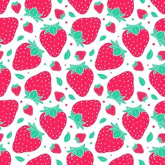 Nahtloses muster mit erdbeeren. einfaches farbsommermuster mit beeren. flache elemente