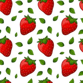 Nahtloses muster mit erdbeeren und blättern. farbige elemente in einem linearen stil