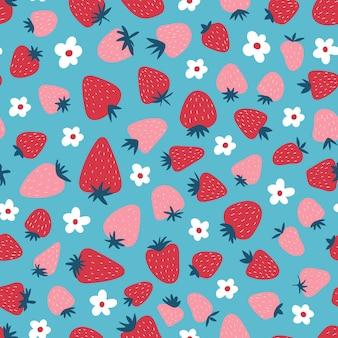 Nahtloses muster mit erdbeeren und blumen. netter einfacher druck für kinder. boho süßer hintergrund