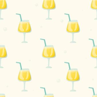 Nahtloses muster mit erfrischenden getränken in einem glas