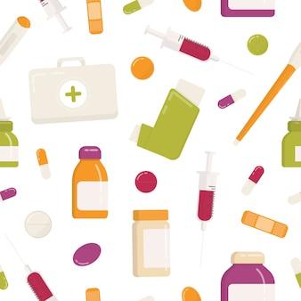 Nahtloses muster mit erste-hilfe-kit, inhalator, pillen, drogen, medikamenten, spritze und anderen medizinischen werkzeugen auf weißem hintergrund. flache karikatur bunte illustration für geschenkpapier, tapete.