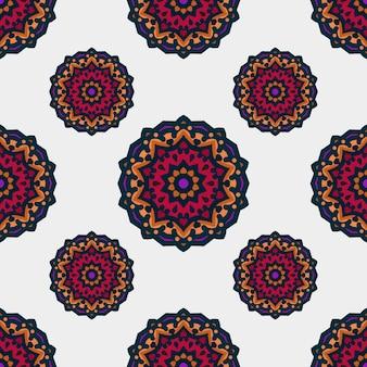 Nahtloses muster mit ethnischer mandalakunstverzierung. mandala nahtlose muster. blumenmandalamuster