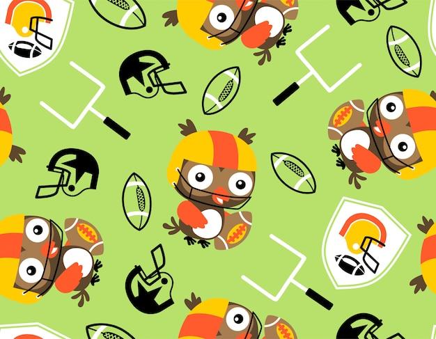 Nahtloses muster mit eule der rugbyspieler