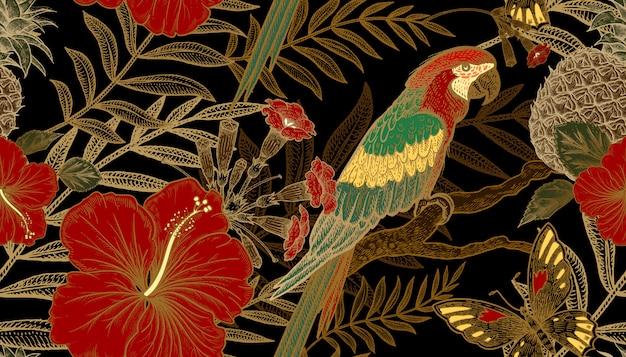 Nahtloses muster mit exotischen pflanzen und papageien.