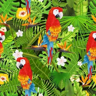 Nahtloses muster mit exotischen tropischen blättern, blumen und papageienillustration