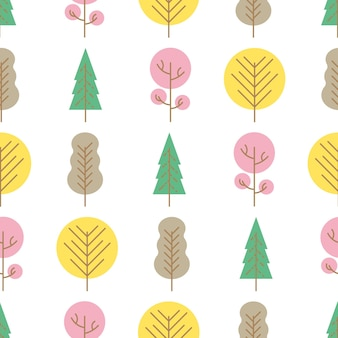 Nahtloses muster mit farbigen bäumen auf weißem hintergrund. vektor-illustration.