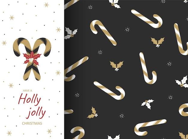 Nahtloses muster mit feiertagslutschern und eichenblättern. weihnachtspostkarte, tapete und geschenkpapier. süße traditionelle geschenkillustration. dekorationsdesignelemente.