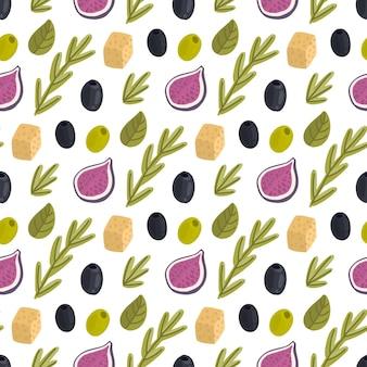 Nahtloses muster mit feigenkäse-rosmarin-kräutern und oliven