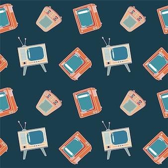Nahtloses muster mit fernsehen
