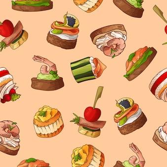 Nahtloses muster mit fingerfood. wiederholter hintergrund im skizzenstil. bruschetta, sandwich, häppchen und tapas.