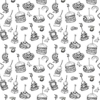Nahtloses muster mit fingerfood. wiederholter hintergrund im skizzenstil. sandwich, häppchen, bruschetta und tapas. illustration