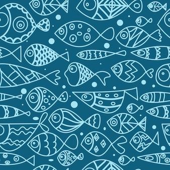 Nahtloses muster mit fischen strichzeichnungen doodle