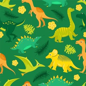 Nahtloses muster mit flachen cartoon-dinosauriern.