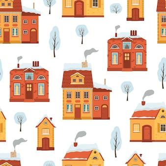 Nahtloses muster mit flachen winterhäusern.