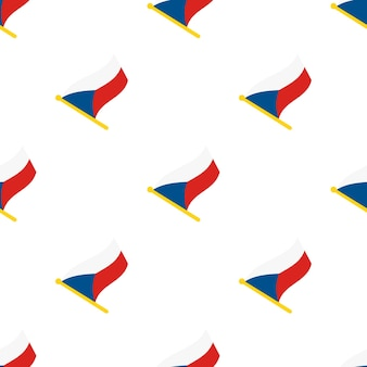 Nahtloses muster mit flaggen der tschechischen republik auf fahnenmast auf weißem hintergrund vektorillustration