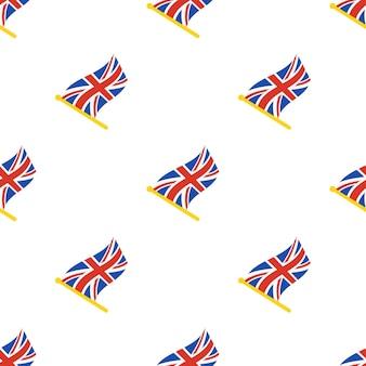 Nahtloses muster mit flaggen des vereinigten königreichs auf fahnenmast auf weißem hintergrund vektorillustration