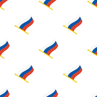 Nahtloses muster mit flaggen russlands auf fahnenmast auf weißem hintergrund vektorillustration