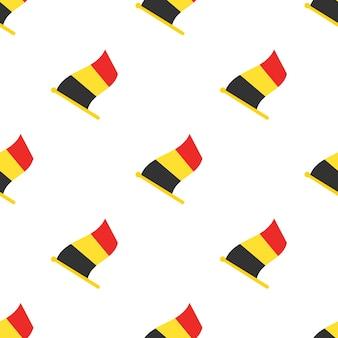 Nahtloses muster mit flaggen von belgien auf fahnenmast auf weißem hintergrund vektorillustration