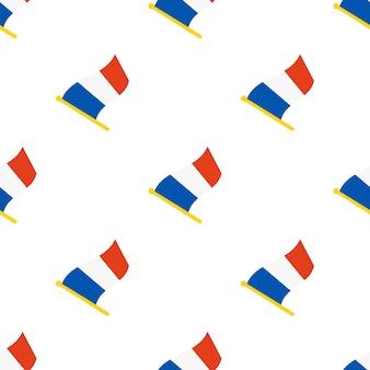 Nahtloses muster mit flaggen von frankreich auf fahnenmast auf weißem hintergrund