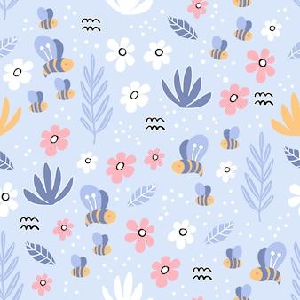 Nahtloses muster mit flamingo und handgezeichneten elementen