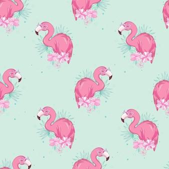 Nahtloses muster mit flamingos