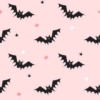 Nahtloses muster mit fledermäusen. halloween-design für stoff und papier, oberflächenstrukturen.
