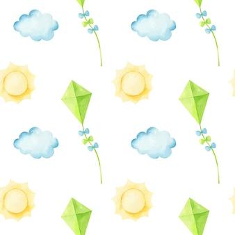 Nahtloses muster mit fliegendem drachen zwischen den wolken und der sonne