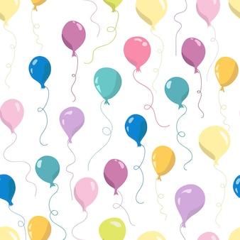 Nahtloses muster mit fliegenden luftballons. handgezeichnete vektor-illustration. nahtloses muster für tapeten, kindertextilien, karten, schreibwaren, verpackung.