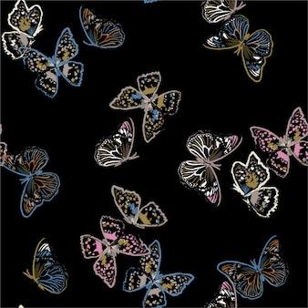 Nahtloses muster mit fliegenden pinselschmetterlingen, illustration