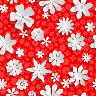 Nahtloses muster mit floraler textur in roten farben und großen weißen papierblumen mit weichen schatten