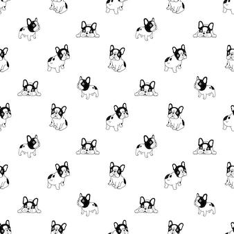 Nahtloses muster mit französischem bulldoggen-cartoon