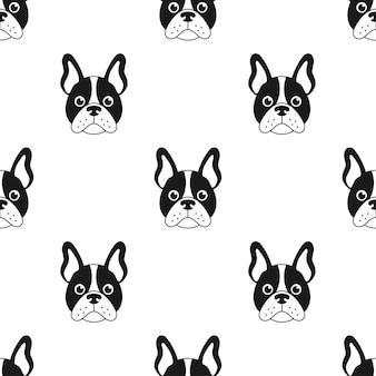 Nahtloses muster mit französischer bulldogge