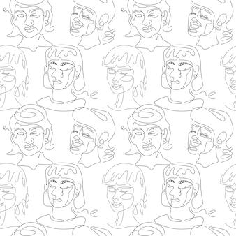 Nahtloses muster mit frauengesichtern einzeiliges kunstporträt