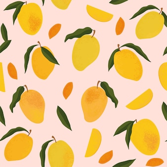 Nahtloses muster mit frischem hellem exotischem ganzen und geschnittener mango lokalisiert auf weiß