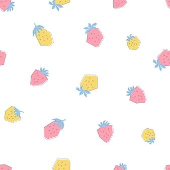 Nahtloses muster mit frischen rosa und gelben erdbeeren. drucken sie im flachen stil mit sommerbeeren auf weißem hintergrund. illustration für kinder, kleidung, textilien, tapeten. vektor