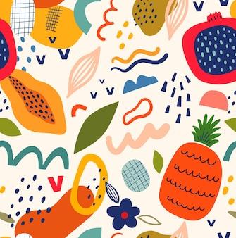 Nahtloses muster mit frischer stilvoller schablone mit abstrakten elementen und früchten auf dem hellen hintergrund