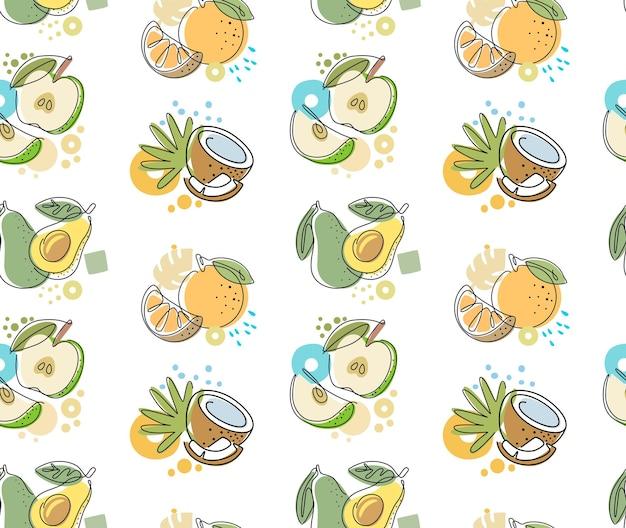 Nahtloses muster mit fruchtapfel, avocado, orange, kokosnuss