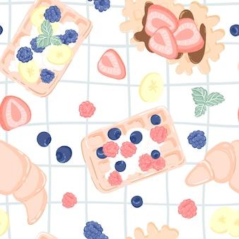 Nahtloses muster mit früchten, beeren, waffeln und croissant. nahtloses design für textil oder hintergrund mit belgischen waffeln.