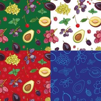 Nahtloses muster mit früchten und beeren: trauben, pflaumen, kirschen, avocado, minze, himbeere, brombeere. vier varianten des hintergrunds.