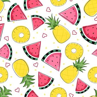Nahtloses muster mit früchten und scheiben. bunte wiederholungsfliese mit ananas und wassermelone