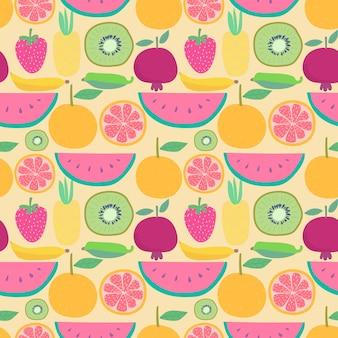 Nahtloses muster mit früchten. vektorillustrationen für geschenkverpackungsdesign.