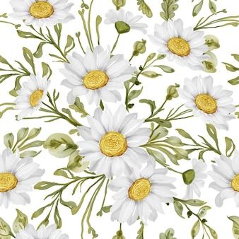 Nahtloses muster mit frühlingsblumen-gänseblümchen