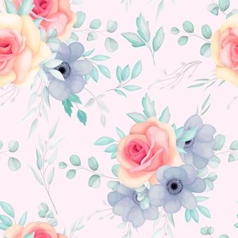 Nahtloses muster mit frühlingsblumen und blättern