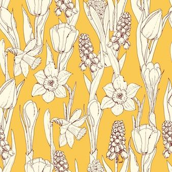 Nahtloses muster mit frühlingsblumen
