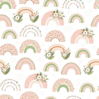 Nahtloses muster mit frühlingsregenbogen und blume
