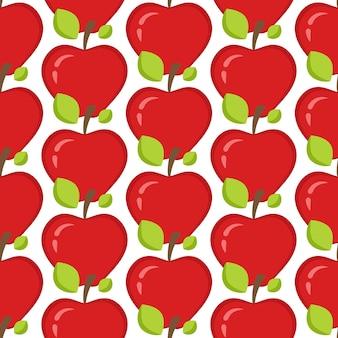 Nahtloses muster mit ganzen roten äpfeln und blättern.